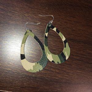 Jewelry - Camo hoop earrings NWOT